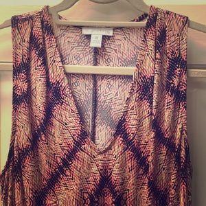 Multi color long dress with hem at waist